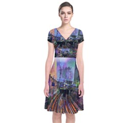 Downtown Chicago Short Sleeve Front Wrap Dress