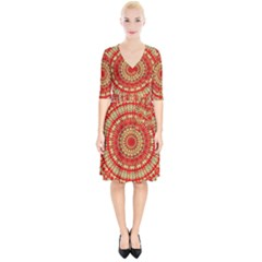 Gold And Red Mandala Wrap Up Cocktail Dress