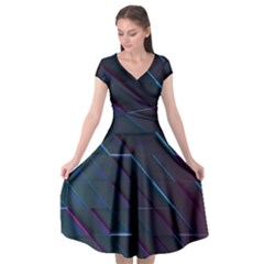 Glass Scifi Violet Ultraviolet Cap Sleeve Wrap Front Dress by Sapixe