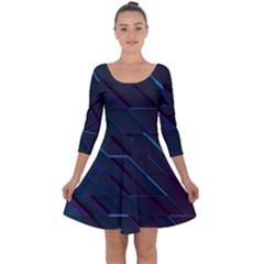Glass Scifi Violet Ultraviolet Quarter Sleeve Skater Dress