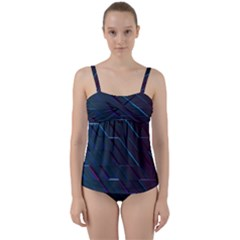 Glass Scifi Violet Ultraviolet Twist Front Tankini Set