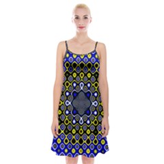 Digital Art Background Yellow Blue Spaghetti Strap Velvet Dress by Sapixe