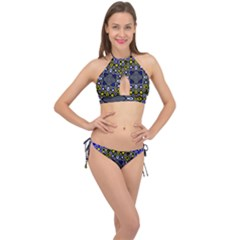 Digital Art Background Yellow Blue Cross Front Halter Bikini Set by Sapixe