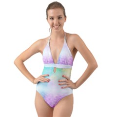 Background Art Abstract Watercolor Halter Cut Out One Piece Swimsuit by Sapixe