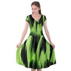 Green Tiger Background Fabric Animal Motifs Cap Sleeve Wrap Front Dress