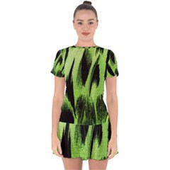 Green Tiger Background Fabric Animal Motifs Drop Hem Mini Chiffon Dress by Jojostore