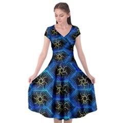Blue Bee Hive Pattern Cap Sleeve Wrap Front Dress