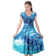 Fractal Ocean Waves Artistic Background Cap Sleeve Wrap Front Dress