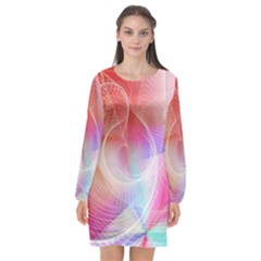 Background Nebulous Fog Rings Long Sleeve Chiffon Shift Dress