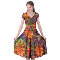 Abstract Flowers Floral Decorative Cap Sleeve Wrap Front Dress