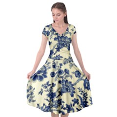 Vintage Blue Drawings On Fabric Cap Sleeve Wrap Front Dress by Jojostore
