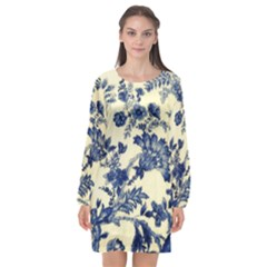 Vintage Blue Drawings On Fabric Long Sleeve Chiffon Shift Dress