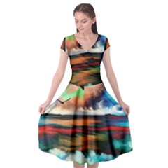 Ocean Waves Birds Colorful Sea Cap Sleeve Wrap Front Dress by Jojostore