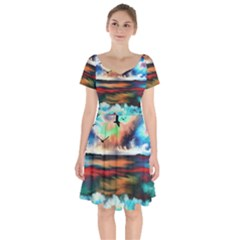 Ocean Waves Birds Colorful Sea Short Sleeve Bardot Dress