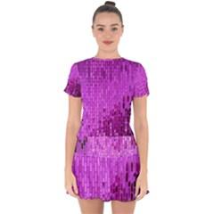 Purple Background Scrapbooking Paper Drop Hem Mini Chiffon Dress