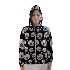 Halloween Skull Pattern Hooded Windbreaker (women)