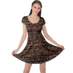 Colorful And Glowing Pixelated Pattern Cap Sleeve Dress by Jojostore