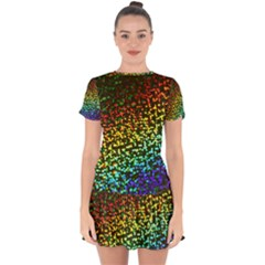 Construction Paper Iridescent Drop Hem Mini Chiffon Dress by Jojostore