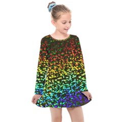Construction Paper Iridescent Kids  Long Sleeve Dress by Jojostore