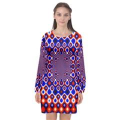 Digital Art Background Red Blue Long Sleeve Chiffon Shift Dress  by Sapixe
