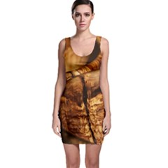 Olive Wood Wood Grain Structure Bodycon Dress by Sapixe
