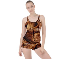 Olive Wood Wood Grain Structure Boyleg Tankini Set  by Sapixe