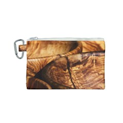 Olive Wood Wood Grain Structure Canvas Cosmetic Bag (small)