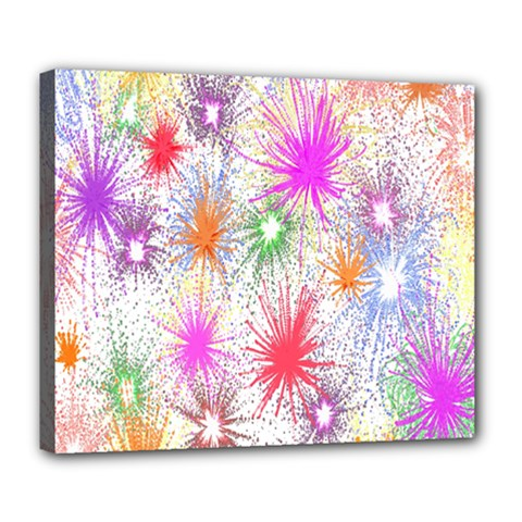 Star Dab Farbkleckse Leaf Flower Deluxe Canvas 24  X 20  (stretched) by Sapixe