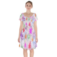 Star Dab Farbkleckse Leaf Flower Short Sleeve Bardot Dress by Sapixe