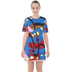Creativeness Art Illustration Sixties Short Sleeve Mini Dress by Sapixe