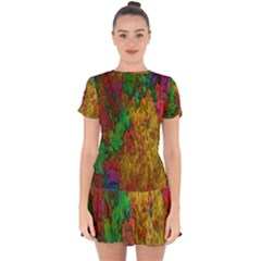 Background Color Template Abstract Drop Hem Mini Chiffon Dress by Sapixe