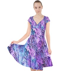 Background Peel Art Abstract Cap Sleeve Front Wrap Midi Dress by Sapixe