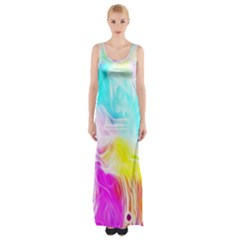 Background Drips Fluid Colorful Maxi Thigh Split Dress