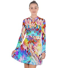 Background Drips Fluid Colorful Long Sleeve Panel Dress by Sapixe