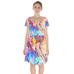 Background Drips Fluid Colorful Short Sleeve Bardot Dress by Sapixe