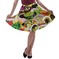 Eat Food Background Art Color A Line Skater Skirt by Sapixe