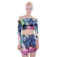 Wool Yarn Colorful Handicraft Off Shoulder Top With Mini Skirt Set by Sapixe