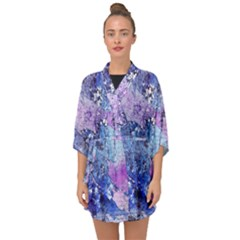 Background Art Abstract Watercolor Half Sleeve Chiffon Kimono by Sapixe
