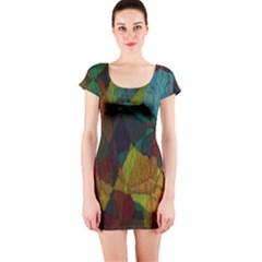 Background Color Template Abstract Short Sleeve Bodycon Dress