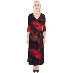 Background Art Abstract Watercolor Quarter Sleeve Wrap Maxi Dress by Sapixe
