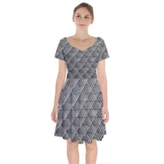 Grid Wire Mesh Stainless Rods Rods Raster Short Sleeve Bardot Dress by Jojostore