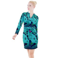 Texture Butterflies Background Button Long Sleeve Dress by Jojostore