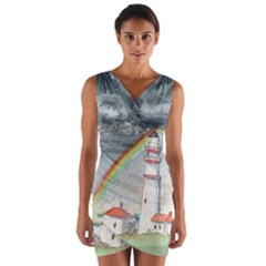 Watercolour Lighthouse Rainbow Wrap Front Bodycon Dress by Jojostore