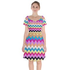 Chevrons Pattern Art Background Short Sleeve Bardot Dress