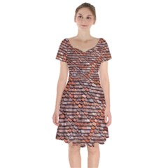 Roof Tiles On A Country House Short Sleeve Bardot Dress