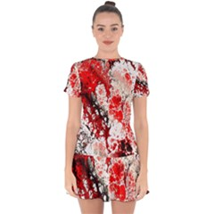 Red Fractal Art Drop Hem Mini Chiffon Dress