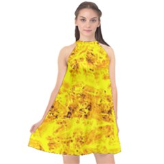 Yellow Abstract Background Halter Neckline Chiffon Dress  by Jojostore