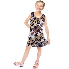 Background Fabric Animal Motifs And Flowers Kids  Tunic Dress by Jojostore