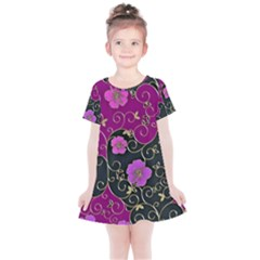 Floral Pattern Background Kids  Simple Cotton Dress