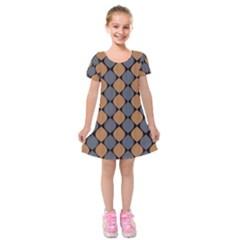 Abstract Seamless Pattern Kids  Short Sleeve Velvet Dress